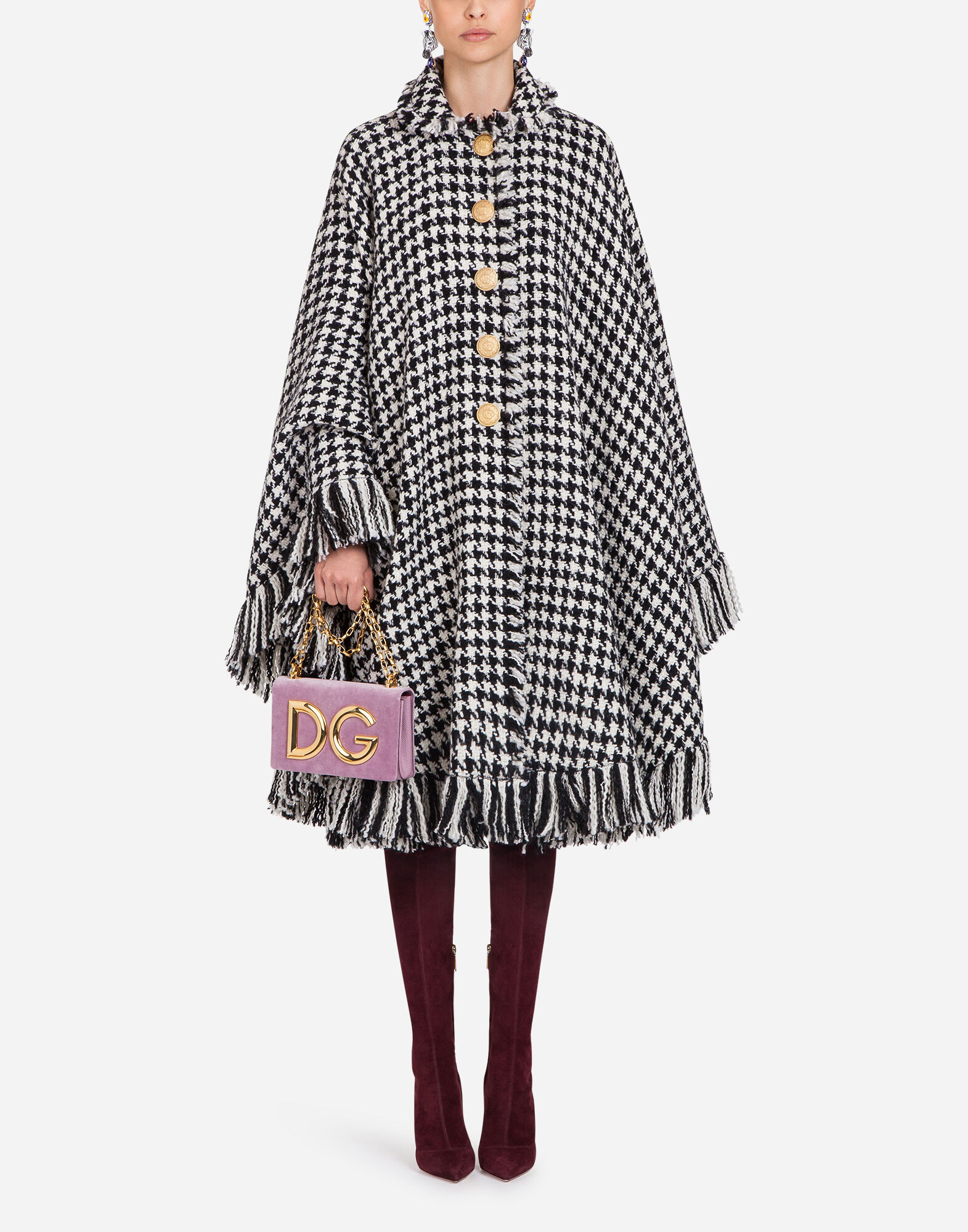 Oversized Fringed Houndstooth Wool-Blend Cape in Black