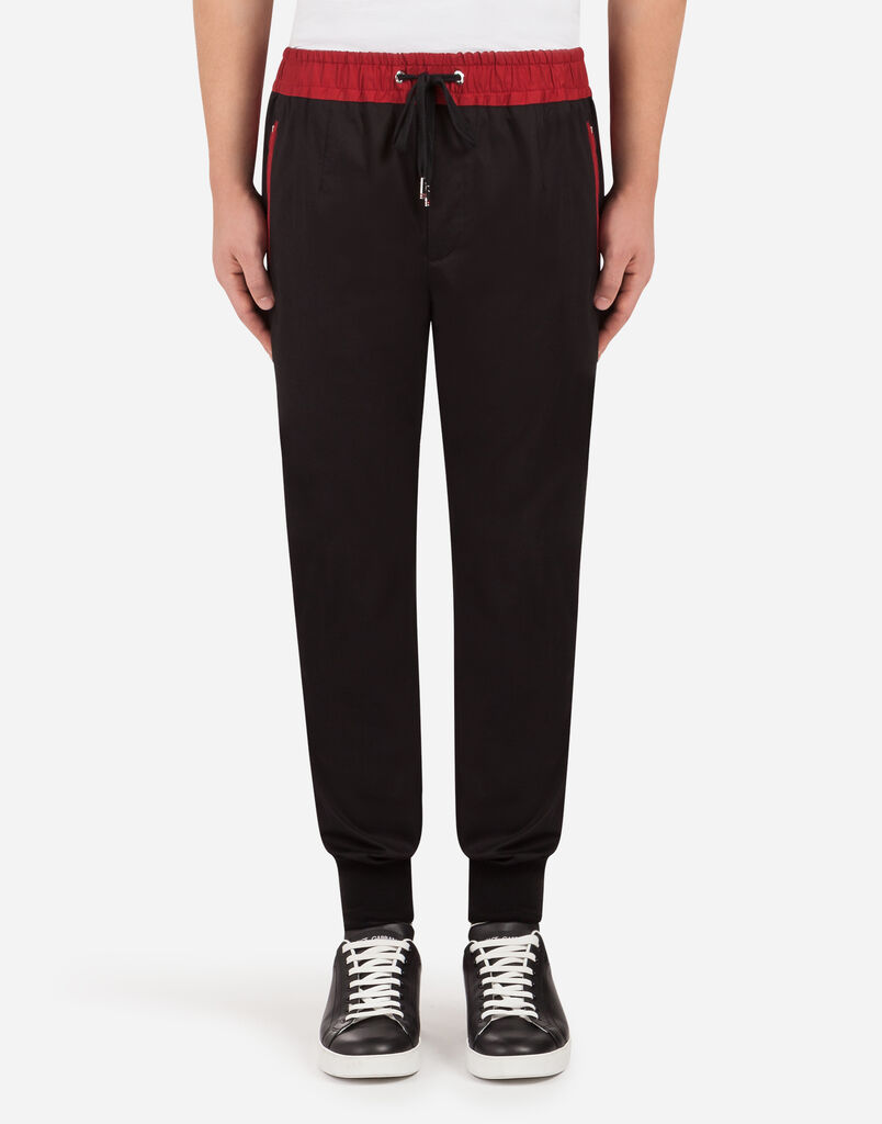 STRETCH COTTON JOGGING PANTS WITH PATCH