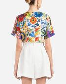 Dolce&Gabbana MAJOLICA-PRINT SILK TOP