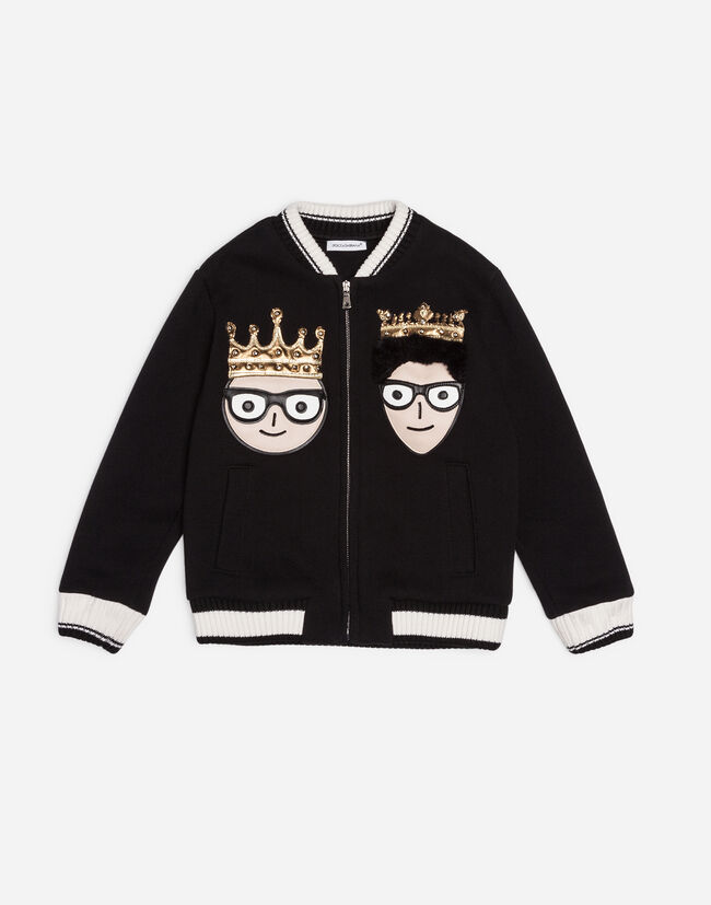 Dolce&Gabbana COTTON SWEATSHIRT WITH DESIGNERS' PATCHES