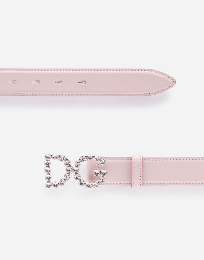 Dolce & Gabbana CALFSKIN BELT WITH DG CRYSTAL LOGO BUCKLE