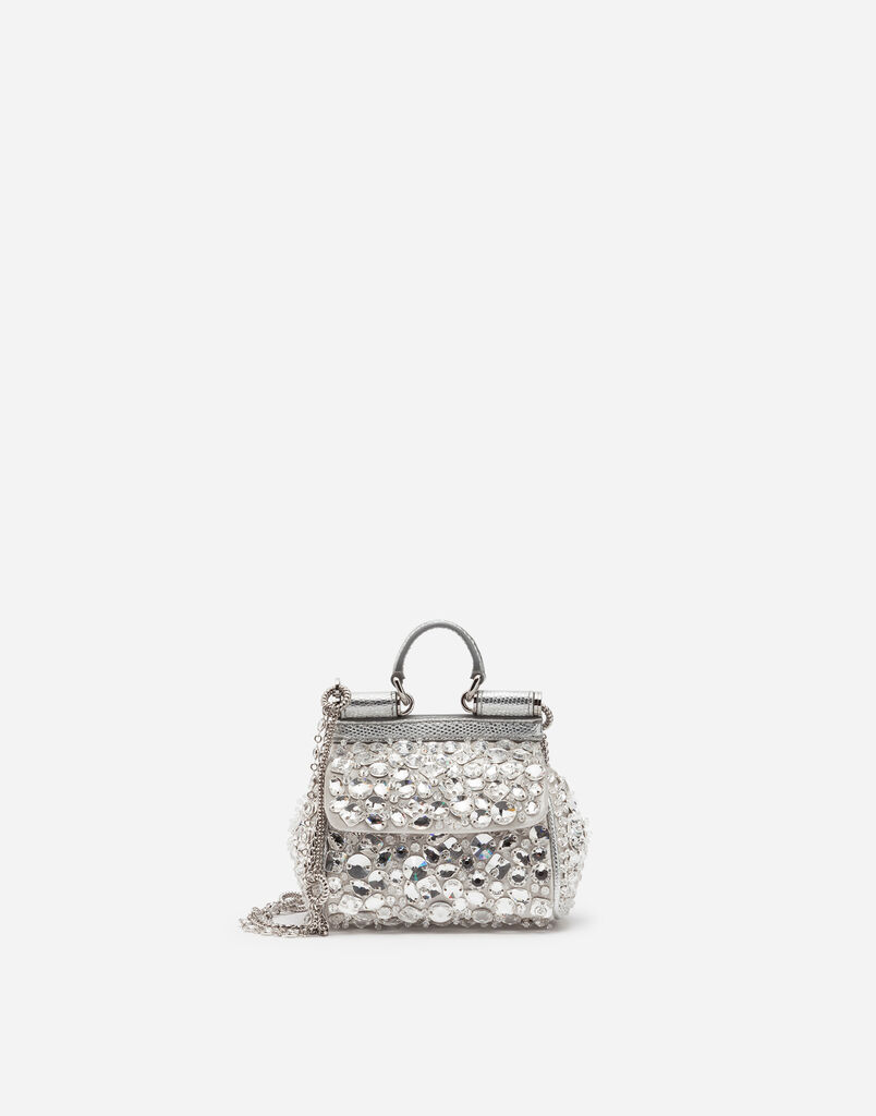Dolce Gabbana Micro Sicily Bag In Satin With Embroideries