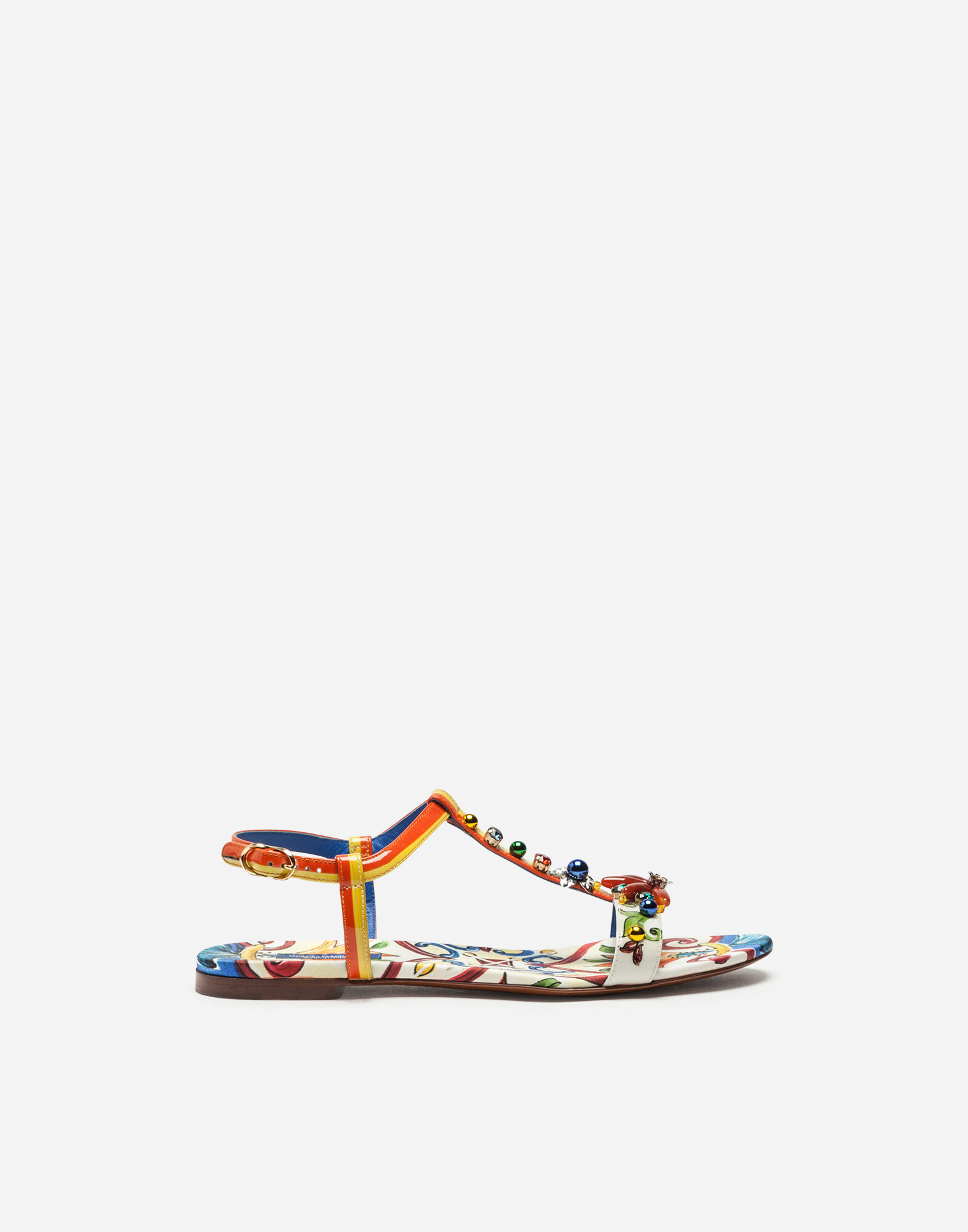 Dolce & Gabbana  SANDAL IN PRINTED PATENT LEATHER WITH EMBROIDERY