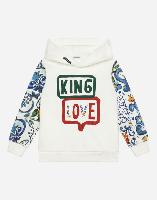 Dolce&Gabbana PRINTED COTTON SWEATSHIRT WITH PATCH