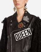 LEATHER BIKER JACKET WITH LACE SLEEVES
