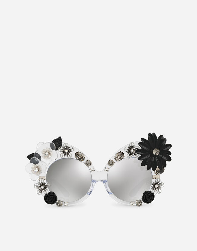 Dolce & Gabbana BUTTERFLY SUNGLASSES IN ACETATE AND METAL WITH CRYSTAL DETAILS