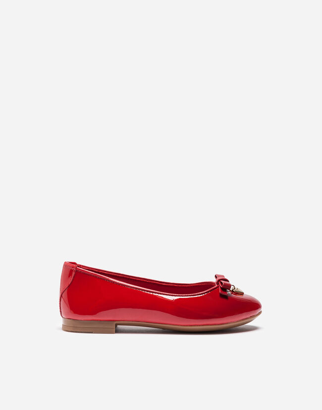 Dolce & Gabbana PATENT LEATHER BALLET FLATS WITH BOW DETAIL