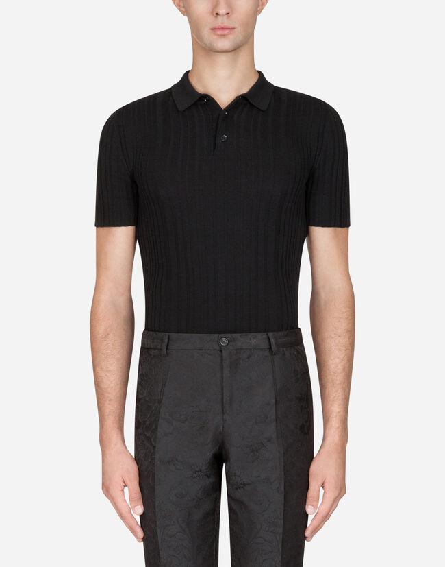 81a99a943 Knitwear for Men   Dolce&Gabbana - WOOL KNIT POLO SHIRT