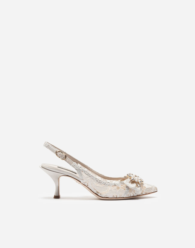 LACE SLINGBACKS WITH BEJEWELED DETAIL