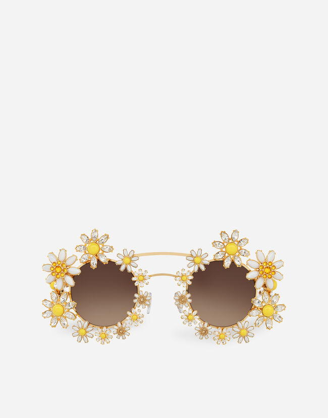 Dolce & Gabbana METAL SUNGLASSES WITH BEJEWELLED APPLIQUE