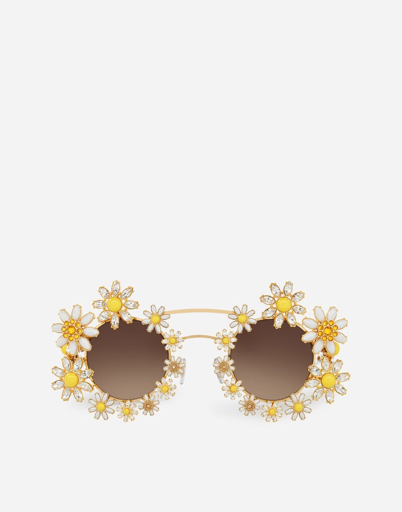 METAL SUNGLASSES WITH BEJEWELLED APPLIQUE