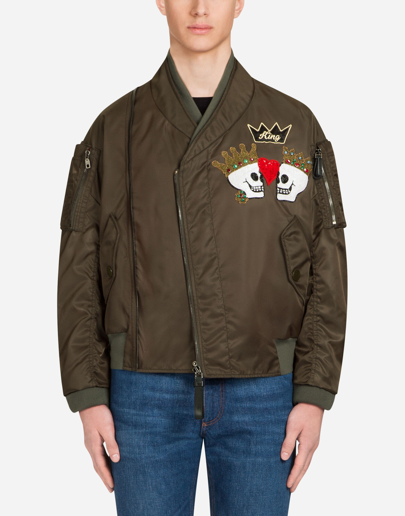 NYLON BOMBER JACKET WITH PATCHES from DOLCE & GABBANA