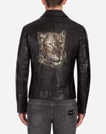 BIKER JACKET IN LAMBSKIN LEATHER WITH PRINT
