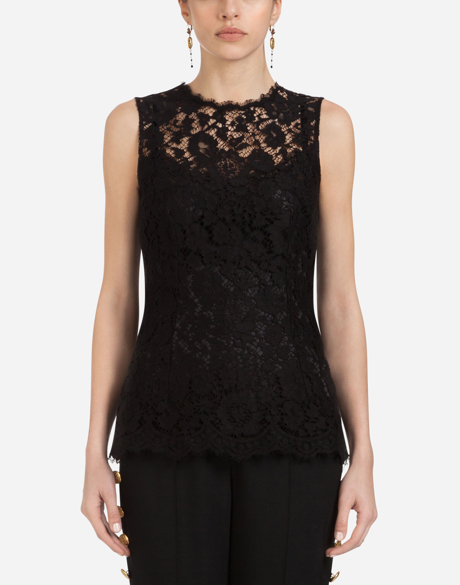 DOLCE & GABBANA Crewneck Sleeveless Lace Shell Top, Black