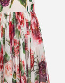 PEONY-PRINT SILK DRESS
