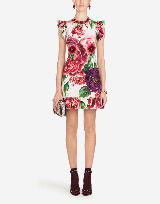 Dolce&Gabbana PEONY-PRINT BROCADE DRESS