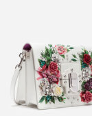 LUCIA SHOULDER BAG IN PEONY-PRINT BOARDED CALFSKIN WITH EMBROIDERED DETAILS