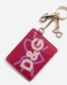 Dolce & Gabbana KEYCHAIN WALLET IN METAL AND PRINTED CALFSKIN