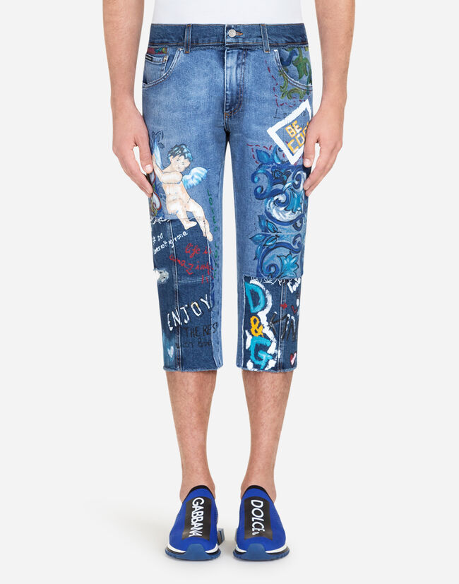 SHORT PRINTED JEANS WITH PATCH
