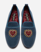 Dolce&Gabbana VELVET LOAFERS WITH HEART EMBROIDERY