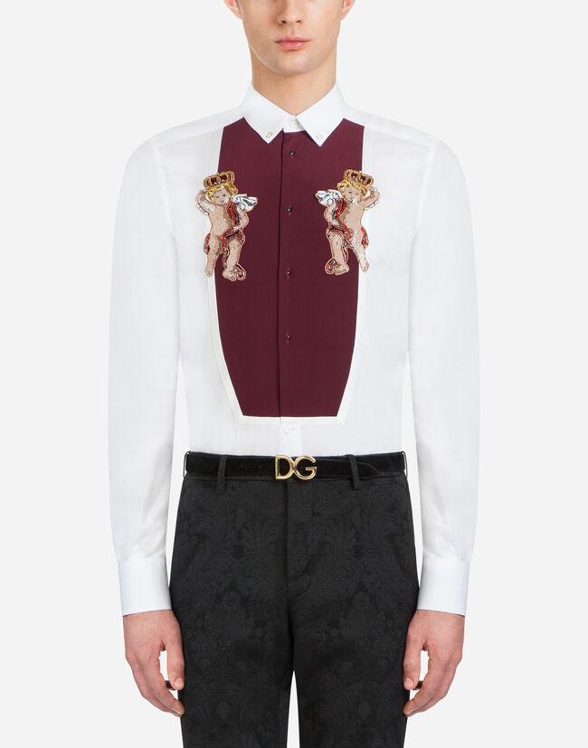 GOLD-FIT TUXEDO SHIRT IN COTTON WITH EMBROIDERY