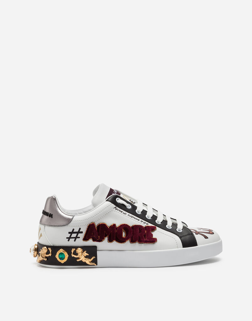 Mens Sneakers And Slip On Dolcegabbana Sepatu Pria Branded Maroon Ampamp Black Dolce Gabbana Portofino In Printed Calfskin With Patch Appliqus