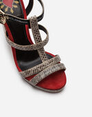 PLATFORM SANDAL IN AYERS SNAKESKIN AND SUEDE
