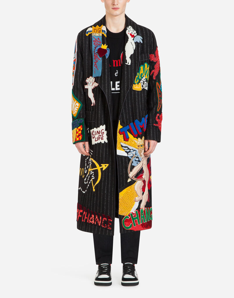 Dolce&Gabbana WOOL COAT/ROBE WITH PATCH