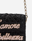 DG MILLENNIALS CROSS-BODY BAG IN RAFFIA WITH PATCHES
