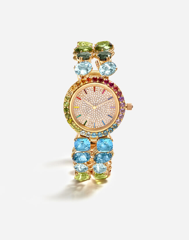 Dolce & Gabbana WATCH WITH MULTI-COLORED GEMS FROM THE RAINBOW COLLECTION