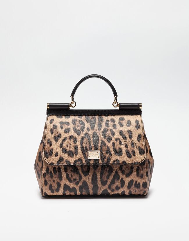 Regular Sicily Bag In Leopard Textured Leather - Women  c8cd997694c