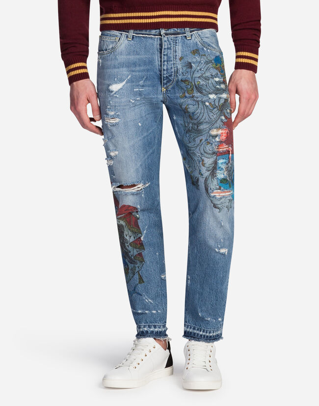 PRINTED CLASSIC FIT JEANS