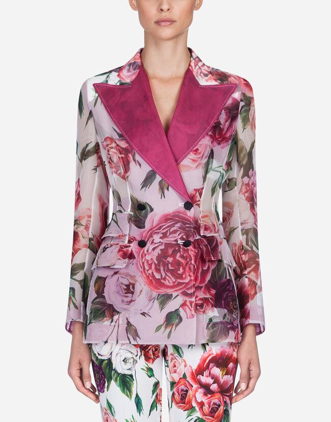 Dolce & Gabbana PEONY-PRINT SILK ORGANZA JACKET
