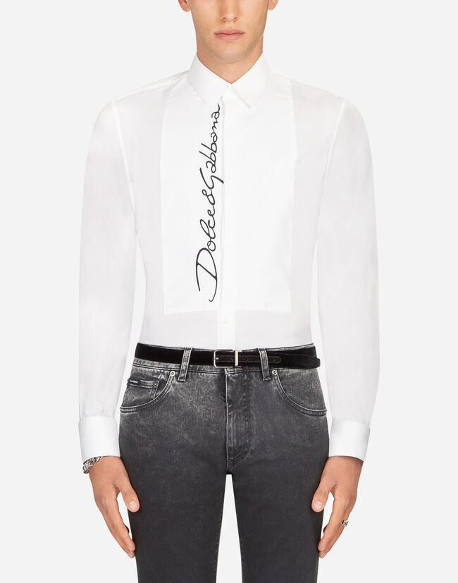 Dolce&Gabbana COTTON TUXEDO SHIRT WITH EMBROIDERY