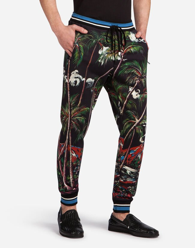 JOGGING PANTS IN PRINTED COTTON