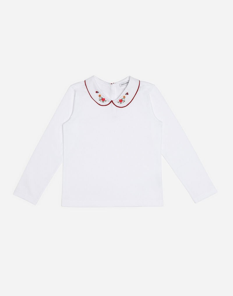 COTTON T-SHIRT WITH EMBROIDERED COLLAR