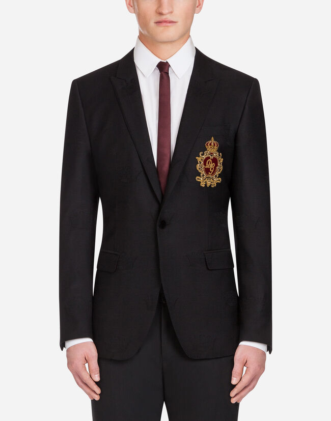 Dolce & Gabbana MARTINI BLAZER IN JACQUARD WOOL WITH PATCH