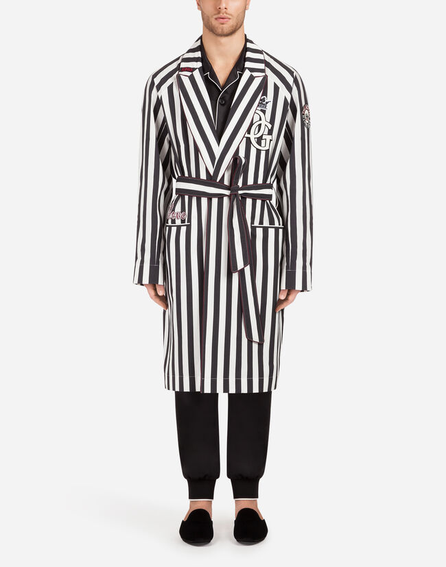 STRETCH COTTON COAT/ROBE WITH PATCH
