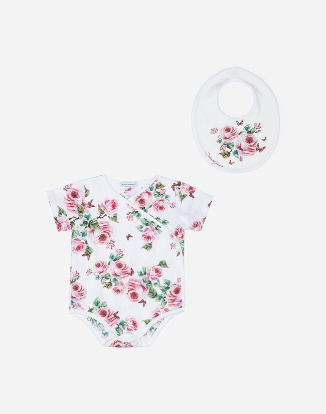 SET WITH BODYSUIT AND BIB IN PRINTED COTTON