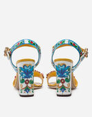 Dolce & Gabbana SANDALS IN PRINTED PATENT LEATHER WITH JEWEL APPLICATIONS