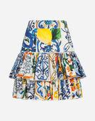 Dolce&Gabbana MAJOLICA-PRINT COTTON SKIRT
