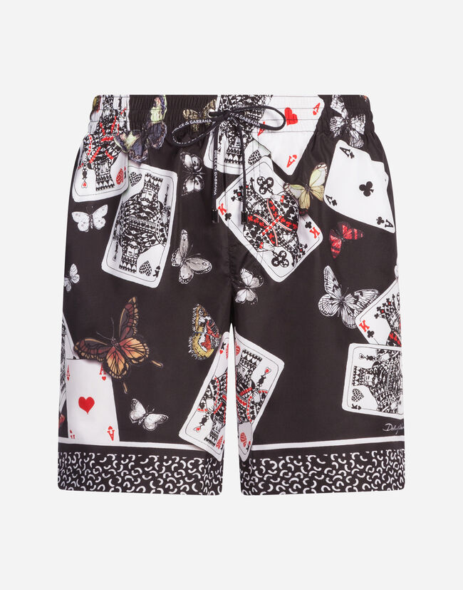 MEDIUM-LENGTH PRINTED SWIMMING TRUNKS