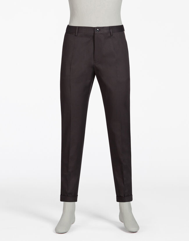 COTTON PANTS WITH COLOR CONTRAST PIPING