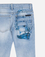 STRETCH JEANS WITH PRINTED DETAIL