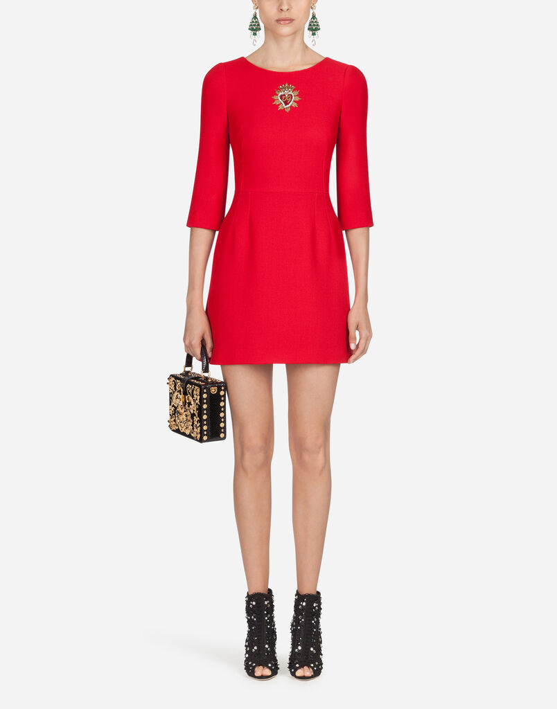 Dolce Gabbana Wool Dress With Heart Embroidery