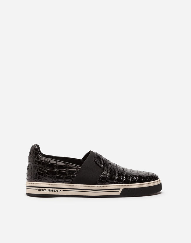 Dolce&Gabbana ROME SLIP-ON SNEAKERS IN CROCODILE LEATHER