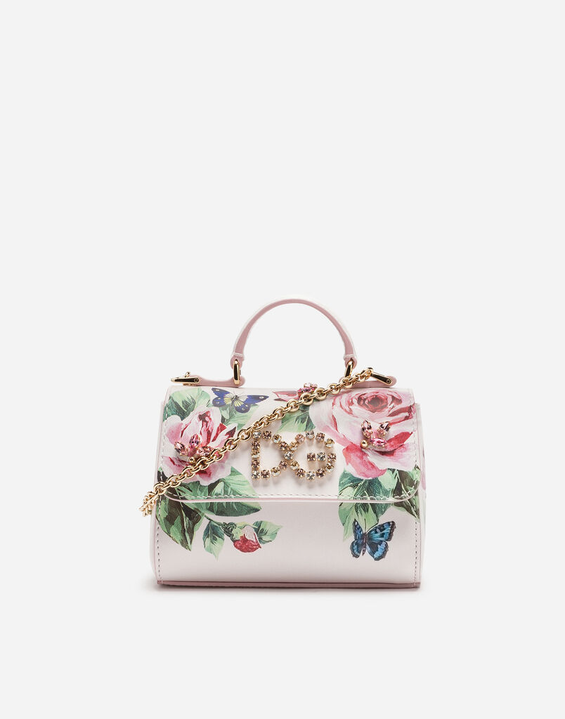 PRINTED LEATHER HANDBAG WITH APPLIQUÉS