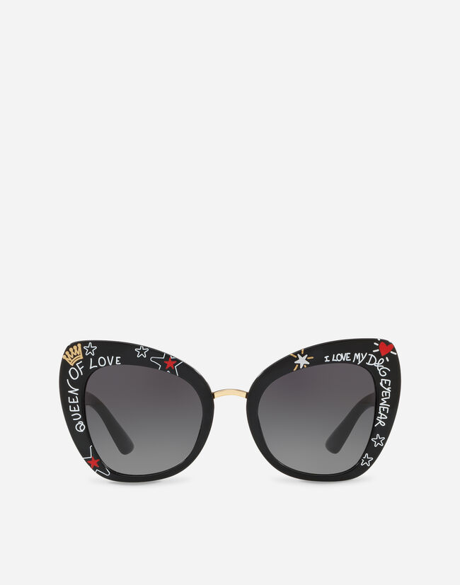 Dolce & Gabbana BUTTERFLY SUNGLASSES IN ACETATE WITH GRAFFITI PRINT