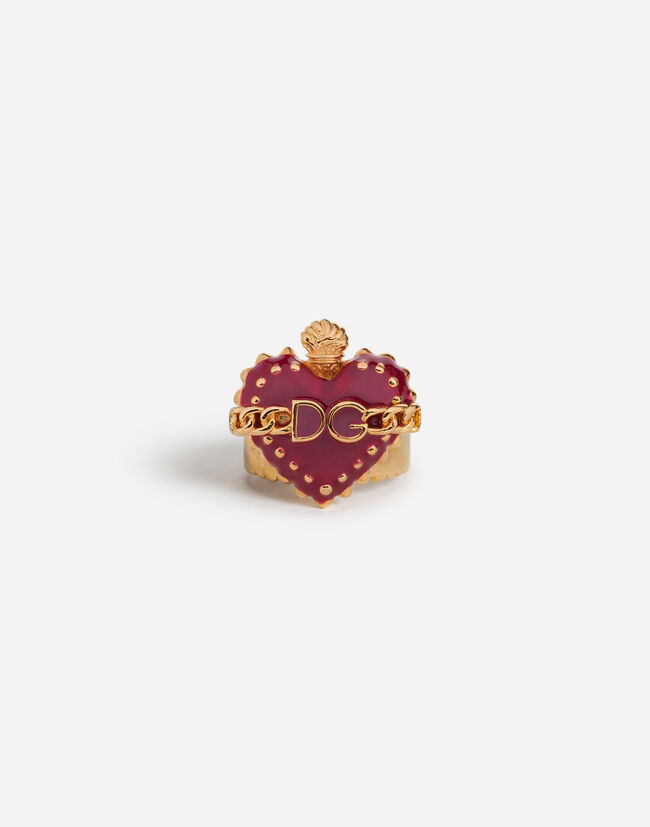 RING WITH ENAMELED HEART