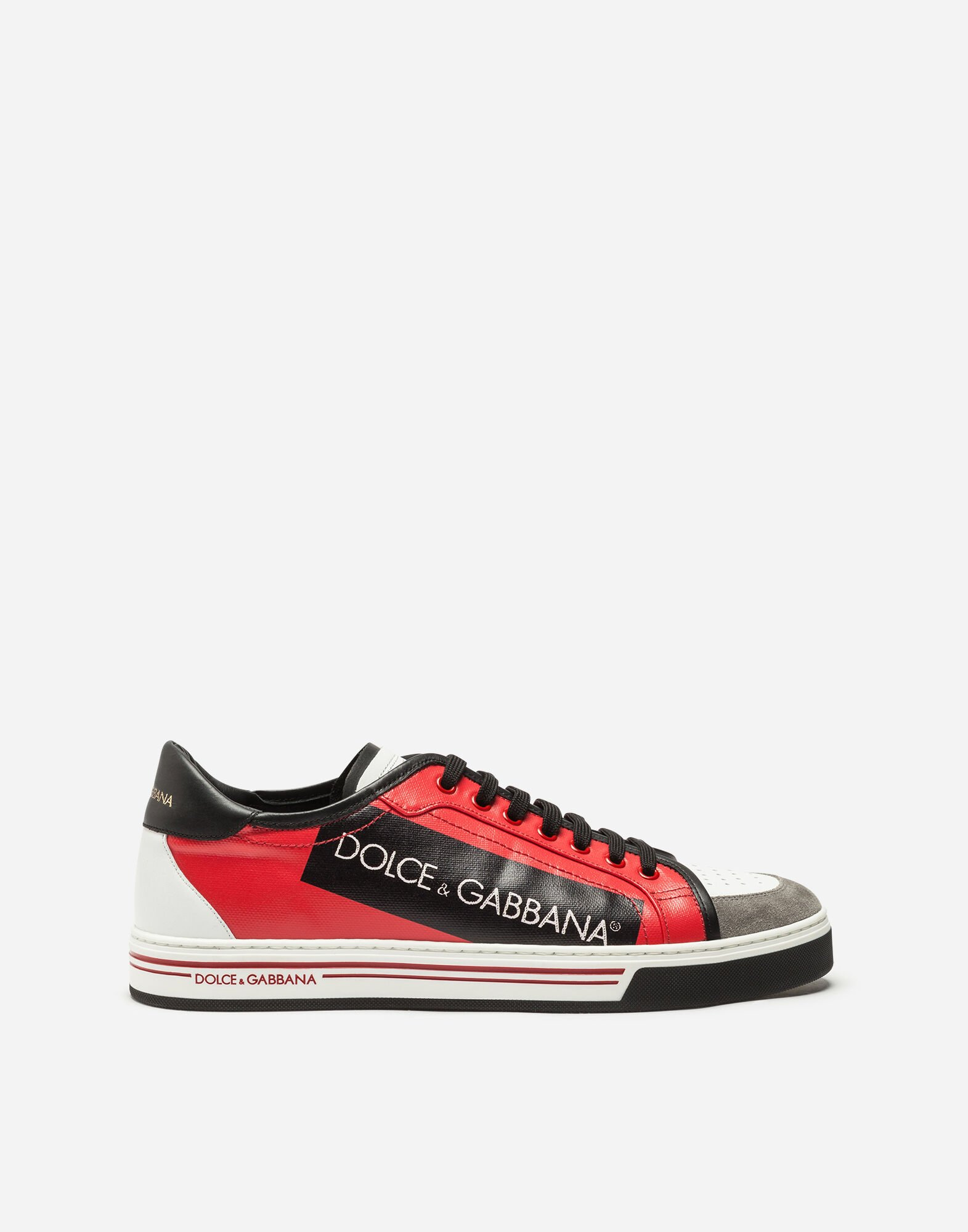 Logo-painted Leather Sneakers - Bright pink Dolce & Gabbana